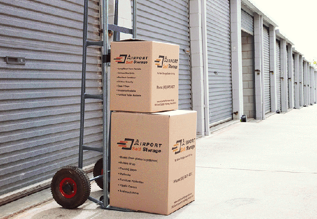 airport self storage boxes outside of storage sheds