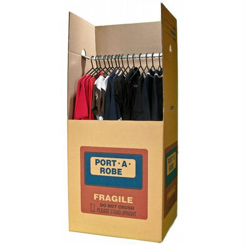 port-a-robe box storing clothes that are hung up